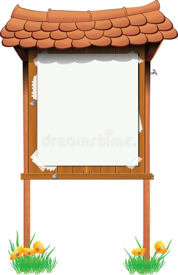 Signboard. Wooden bulletin signboard with a false ads royalty free illustration