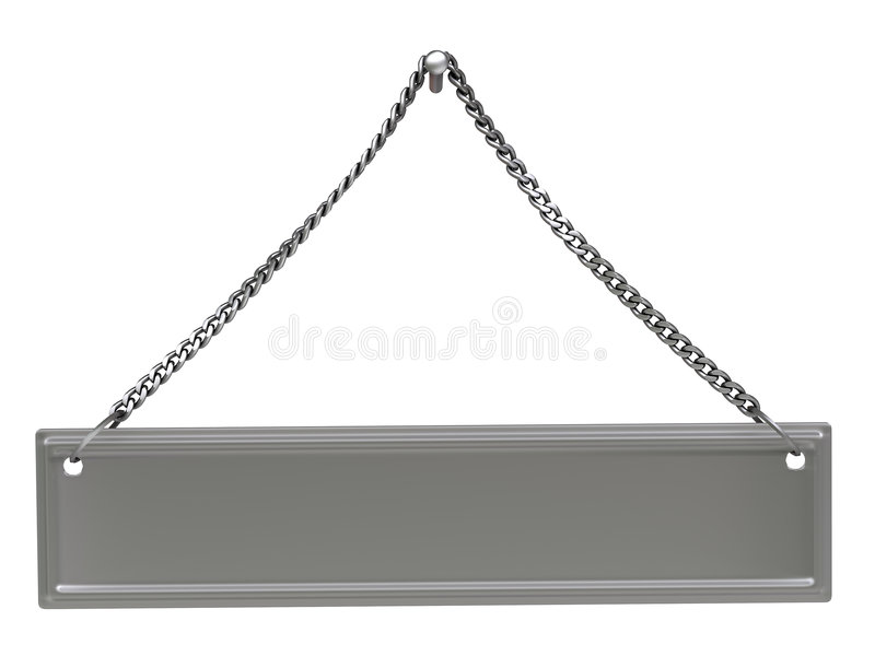 Signboard. 3d blank signboard of steel, isolated on white royalty free illustration
