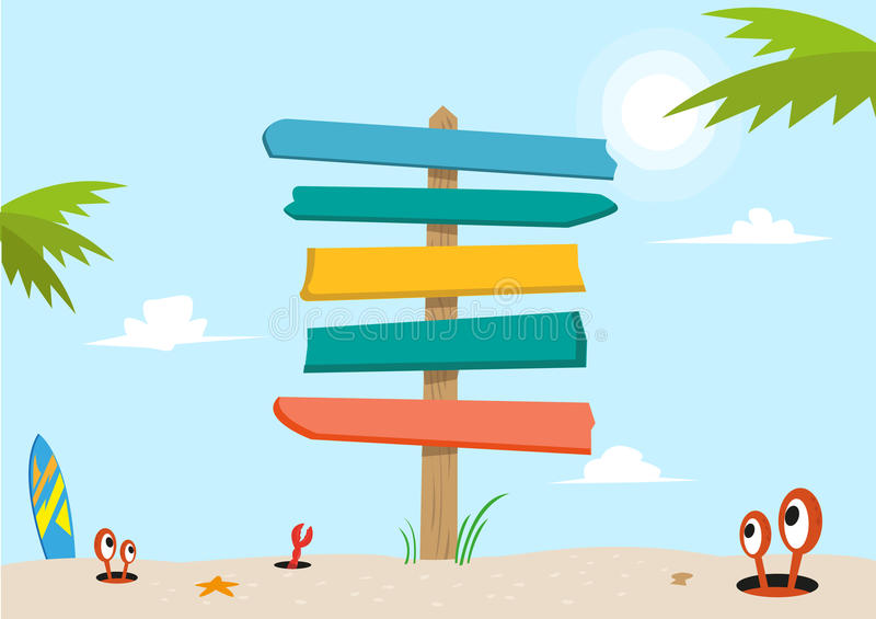 Signboard on a beach concept. Editable Clip Art. A blank and colorful signboard made of planks stands in the middle of a beach sand vector illustration