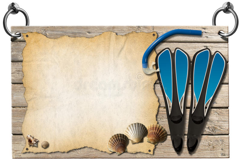 Signboard Beach Holidays. Wooden signboard with sand hanging on to two steel ring with seashells, blue flippers and blue snorkel diving vector illustration