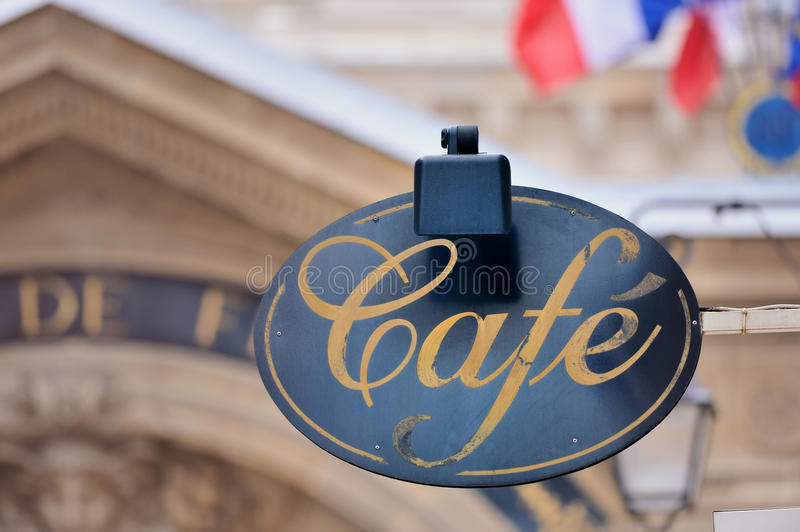 Signboard by cafe. Signboard by entrance in cafe. Paris. France stock photo