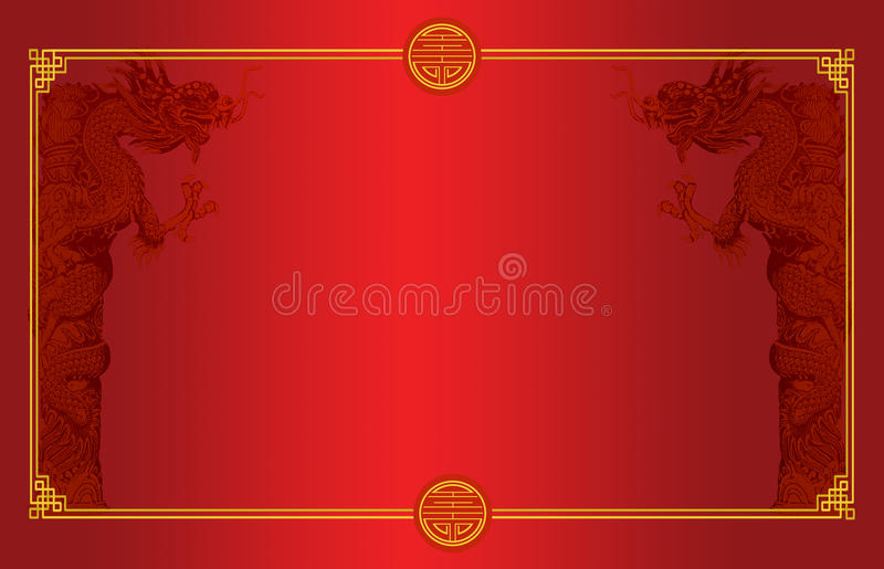 Signboard chinese style with chinese drogon. On red background stock photos