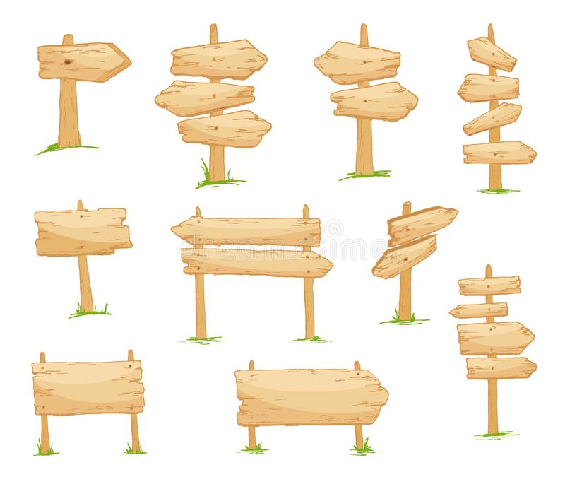 Signboard creation set. Build your own design. Wooden boards of different shapes and sizes. Cartoon style illustration. Signboard creation set. Build your own royalty free illustration