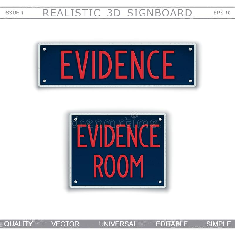 Signboard design. Evidence Room. Car license plate stylized. Vector elements stock illustration