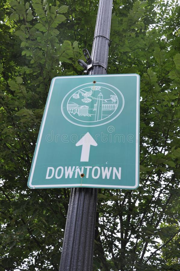 Signboard with Downtown from Washington District of Columbia USA royalty free stock images