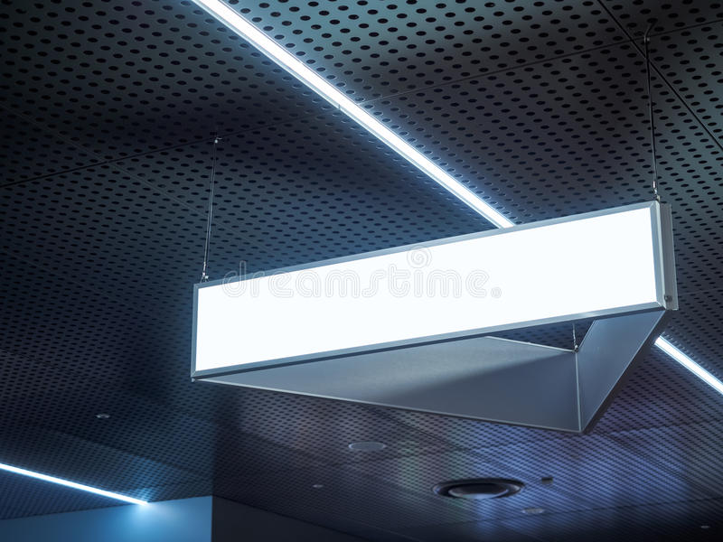 Signboard hanging in Building Blank sign with Light. Signboard hanging in Building Blank Direction sign with Light royalty free stock photo