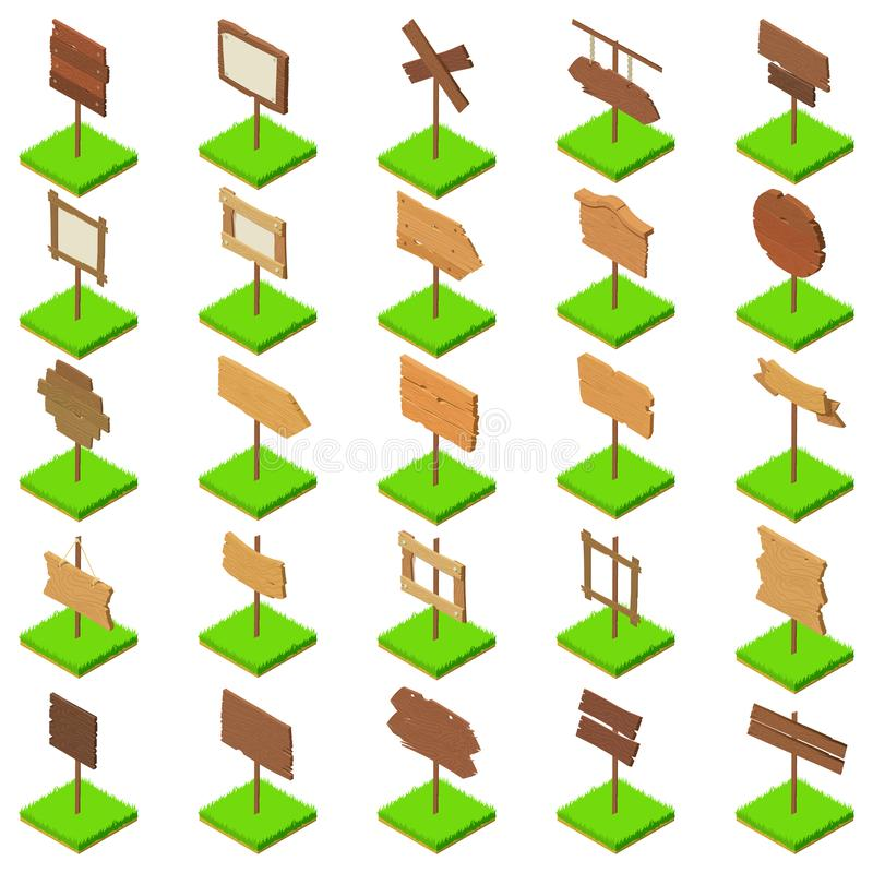 Signboard icons set, isometric style vector illustration