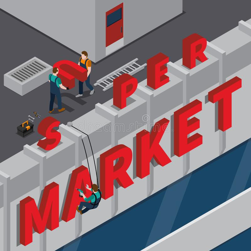 Signboard Installation Isometric Composition. With workers on supermarket roof during mounting of red inscription vector illustration stock illustration