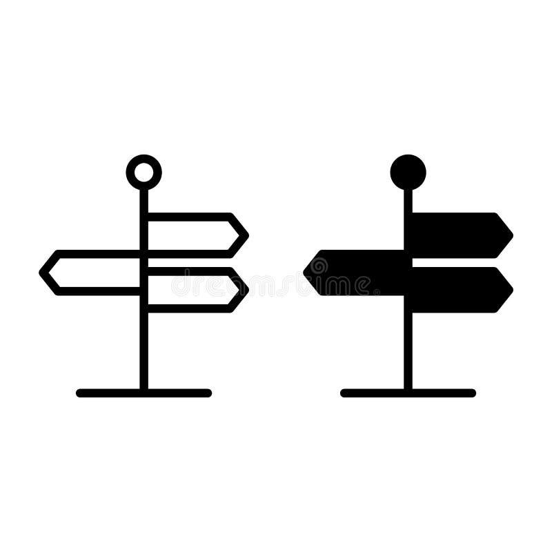 Signboard linia i glif ikona Drogowego znaka wektorowa ilustracja odizolowywająca na bielu Kierunku znaka konturu stylu projekt royalty ilustracja