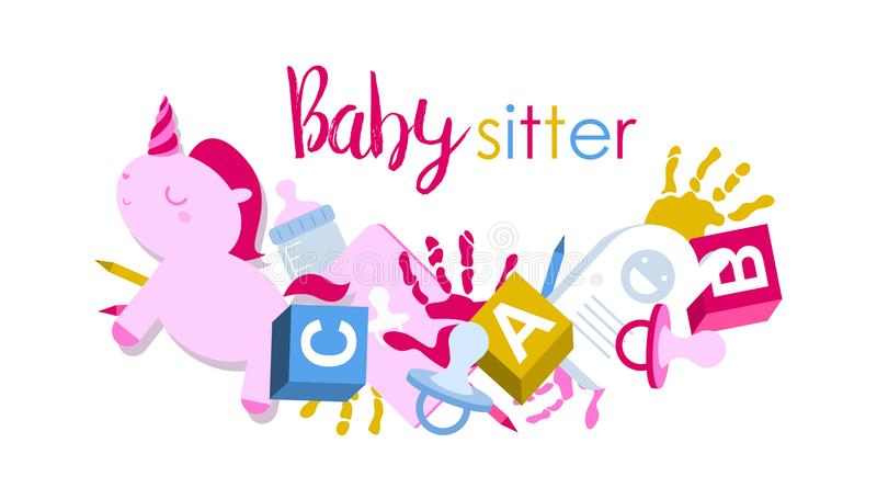 Signboard or logo for babysitter royalty free stock photography