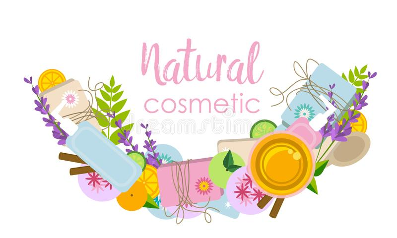 Signboard or logo with ingredients and tools for natural cosmetics making. Signboard or logo with ingredients and tools for soap, bath bombs and natural stock illustration