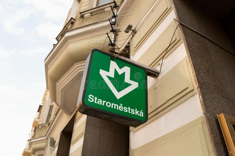 Signboard is marking entrance to metro, underground and subway in Prague, Czech Republic / Czechia royalty free stock photo