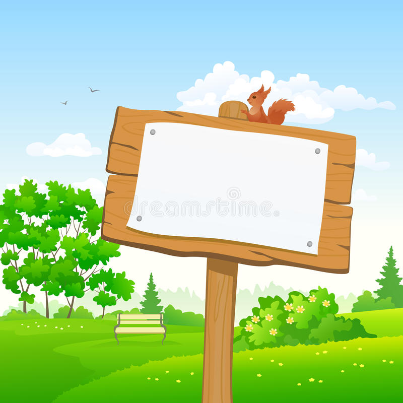 Signboard in a park. Vector illustration of a wooden signboard in a park vector illustration