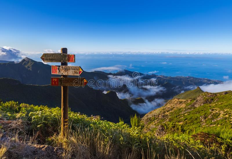 Signboard Pico Ruivo in Madeira Portugal. Travel background royalty free stock images