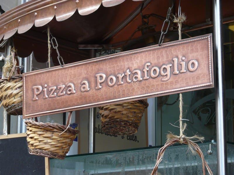 Signboard pizza fotografia stock