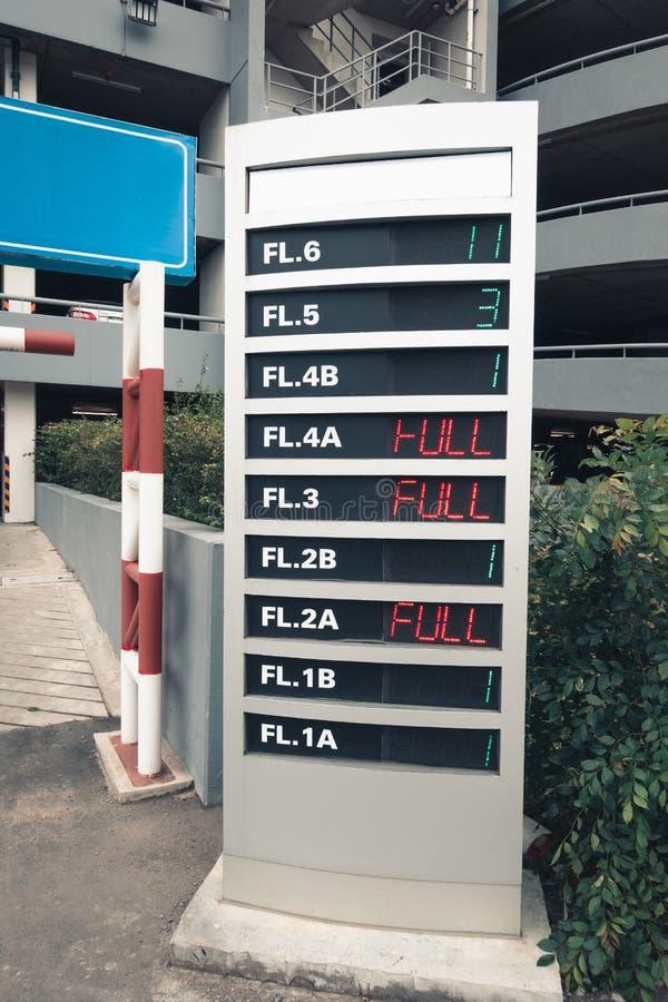 Signboard pokaz dla dostępności samochodowego parking w wydziałowym sto obrazy royalty free