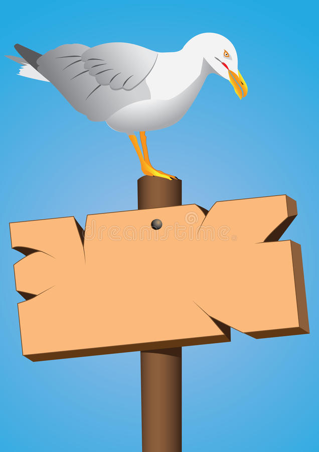 Signboard and seagull. Seagull on the marine signboard stock illustration