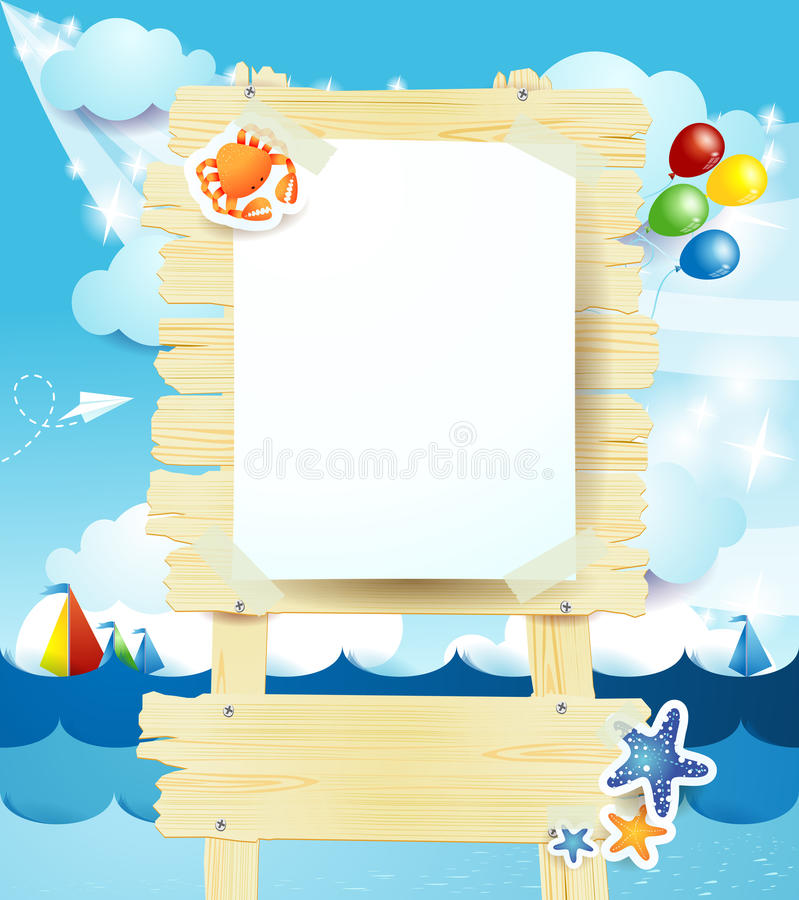 Signboard on seascape. Blank signboard on seascape, illustration with copyspace royalty free illustration