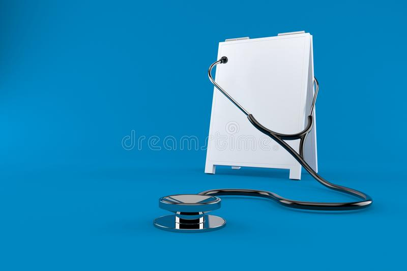 Signboard with stethoscope. Isolated on blue background. 3d illustration stock illustration