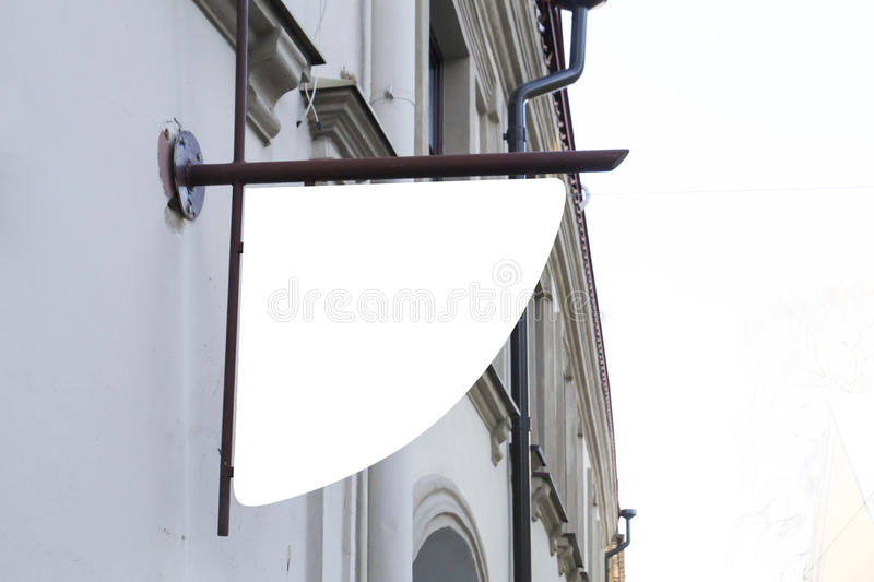 Signboard on the wall. Mock up. Mock up. Signboard on classic building wall royalty free stock photo