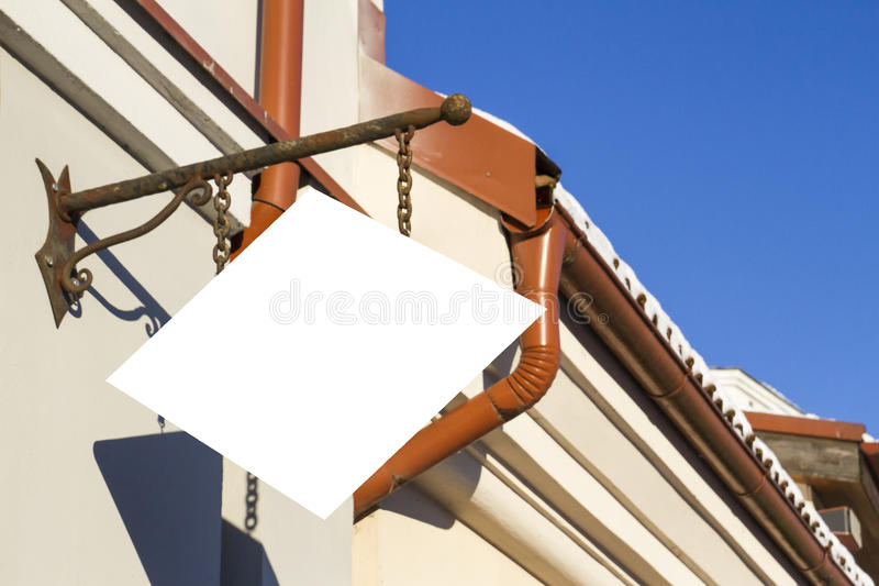 Signboard on the wall. Mock up. Mock up. Signboard on classic building wall royalty free stock image