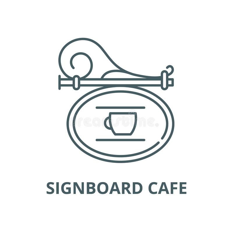 Signboard wektoru linii cukierniana ikona, liniowy pojęcie, konturu znak, symbol royalty ilustracja