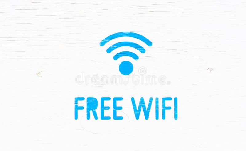 Signboard wifi. Indication wifi available, sign written in blue on a white background royalty free stock photo