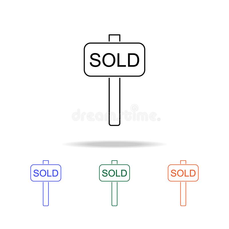 Signboardicon vendu Éléments des immobiliers dans les icônes colorées multi Icône de la meilleure qualité de conception graphique illustration de vecteur
