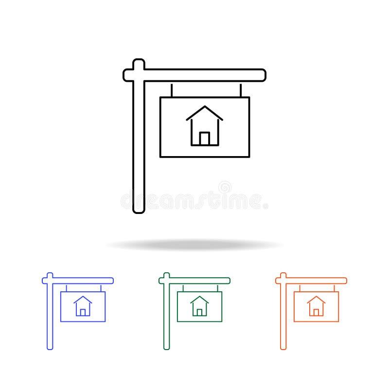 Signboardicon vendu Éléments des immobiliers dans les icônes colorées multi Icône de la meilleure qualité de conception graphique illustration libre de droits