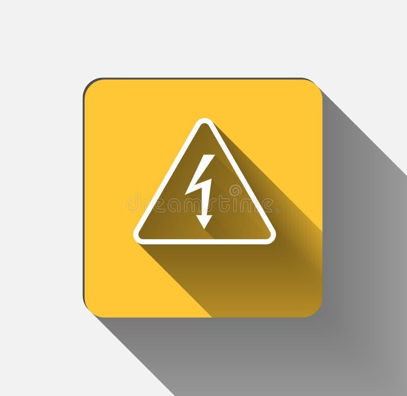 Signe à haute tension Flèche noire d'isolement dans la triangle jaune sur le whi illustration libre de droits