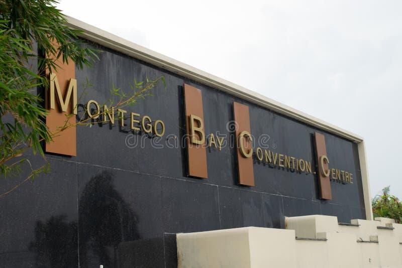 Signe à l'entrée du centre de convention de Montego Bay à Montego Bay, Jamaïque photo stock