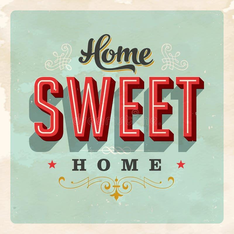 Signe à la maison doux à la maison de vintage illustration stock