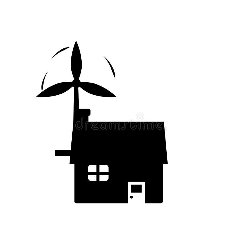 Signe écologique et symbole de vecteur d'icône de maison d'isolement sur le fond blanc, concept écologique de logo de maison illustration libre de droits