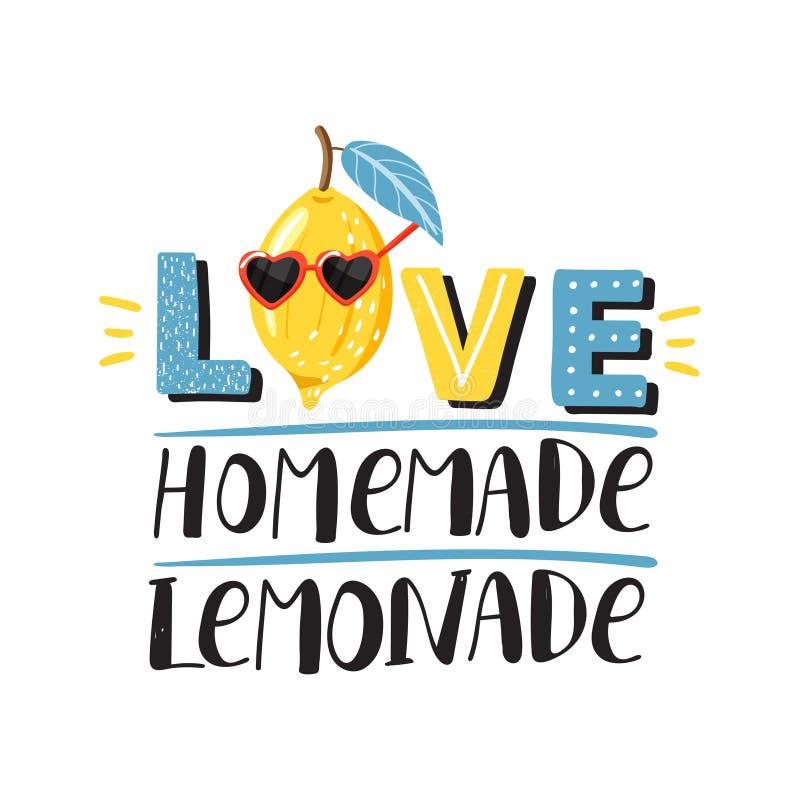 """Signe élégant """"de limonade faite maison d'amour """"de conception de slogan de typographie illustration de vecteur"""