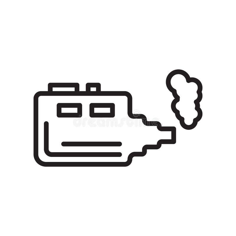 Signe électronique et symbole de vecteur d'icône de cigarette d'isolement sur le whi illustration de vecteur