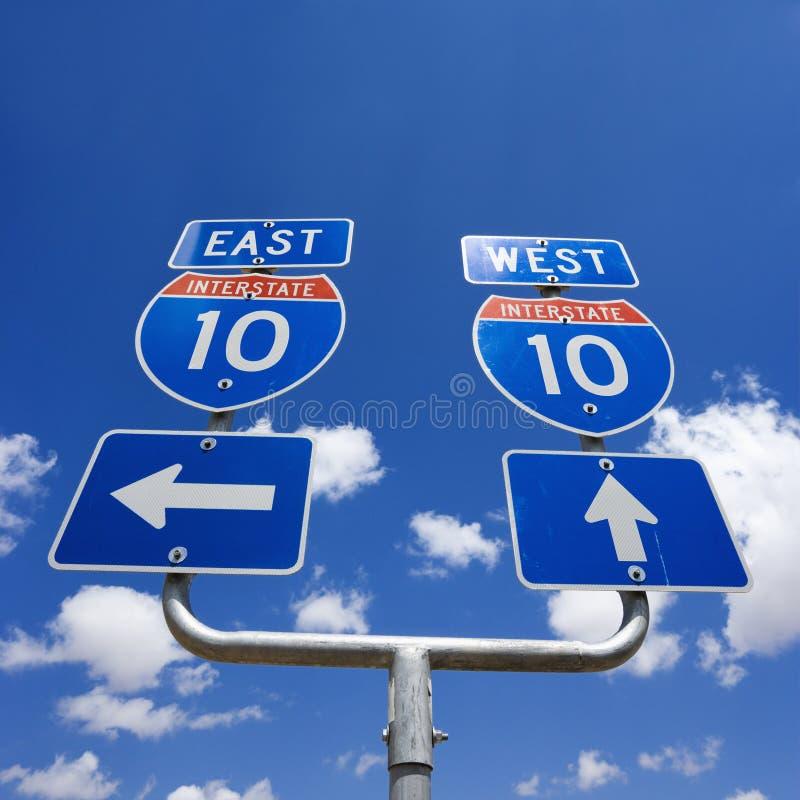 Signe 10 d'un état à un autre. images libres de droits