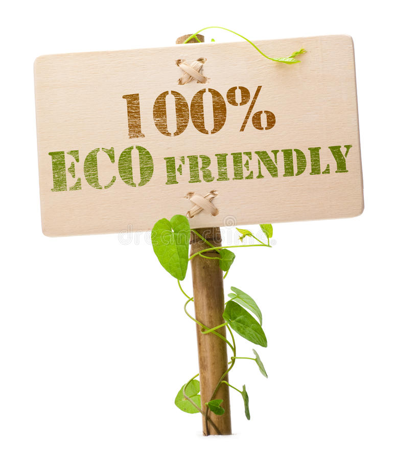 signe 100% vert amical d'eco image stock