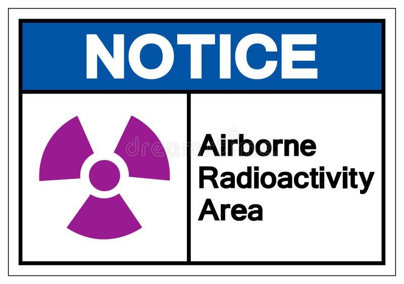 Signe a?roport? de symbole de r?gion de radioactivit? d'avis, illustration de vecteur, isolat sur le label blanc de fond EPS10 illustration stock
