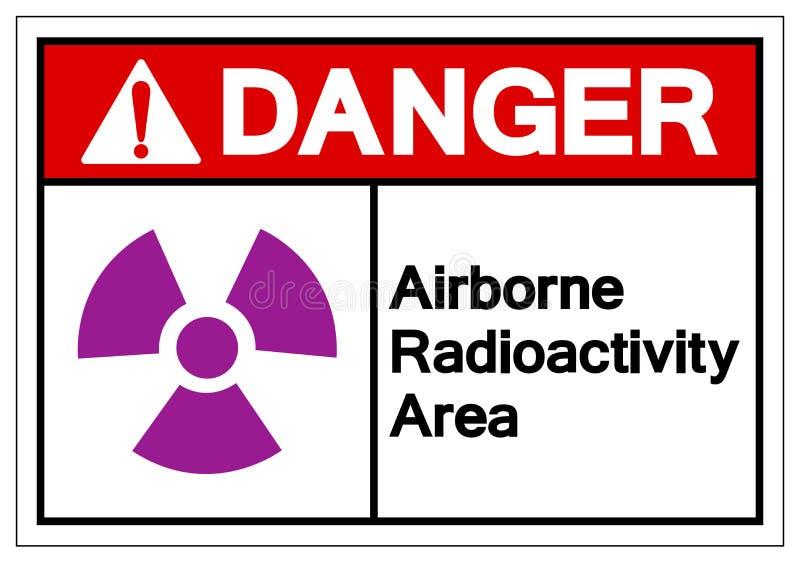 Signe aéroporté de symbole de région de radioactivité de danger, illustration de vecteur, isolat sur le label blanc de fond EPS10 illustration stock