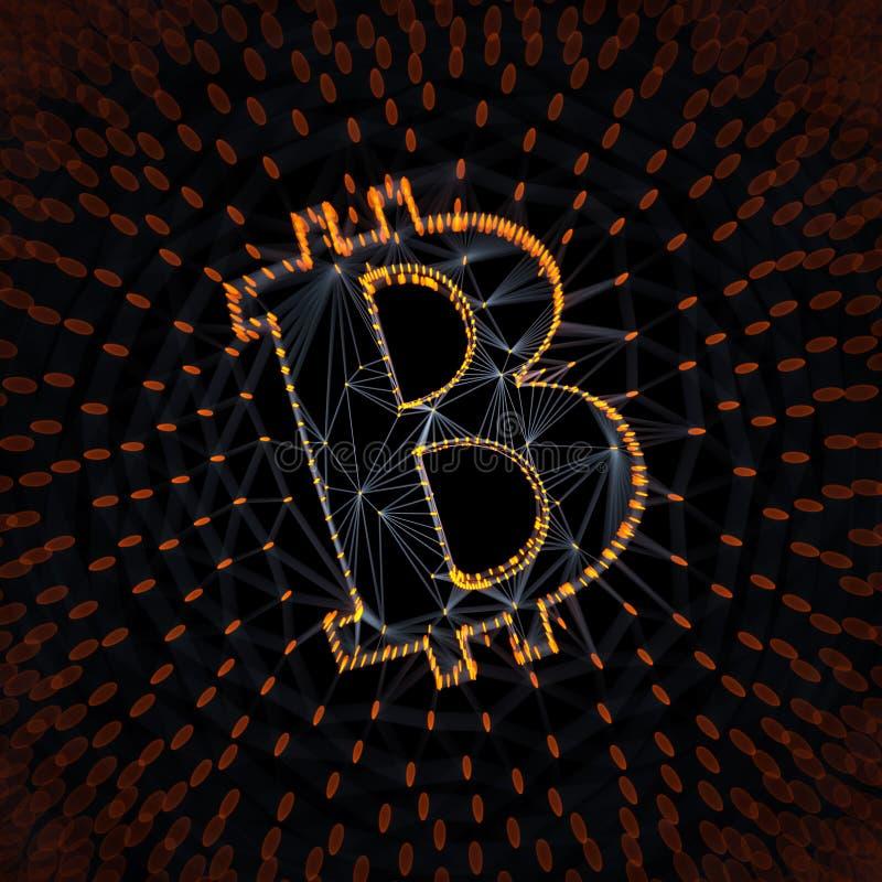 Signe abstrait de Bitcoin établi comme choix de transactions dans l'illustration 3d conceptuelle de Blockchain photos libres de droits