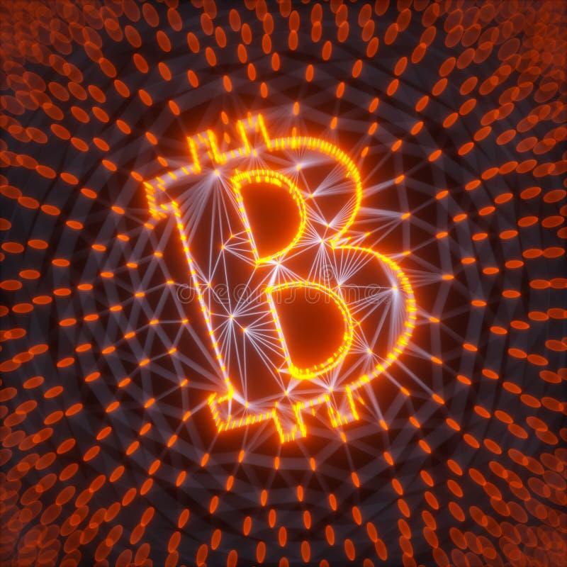 Signe abstrait de Bitcoin établi comme choix de transactions dans l'illustration 3d conceptuelle de Blockchain photos stock