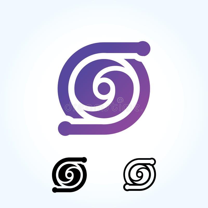 Signe abstrait de logo de cercle de lettre conception matérielle, appartement et ligne style - vecteur illustration libre de droits