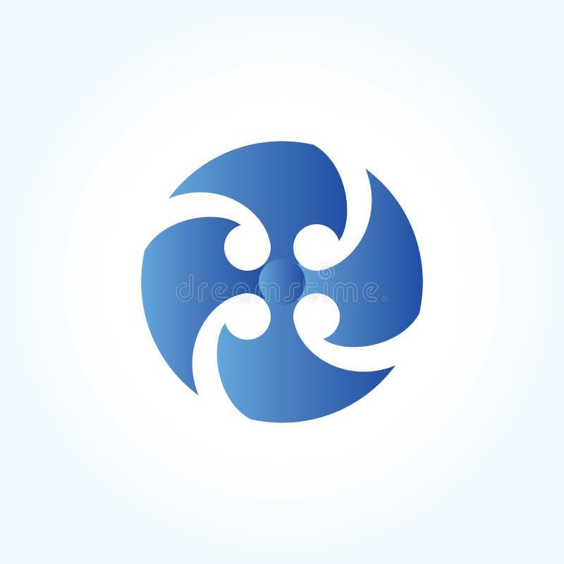 Signe abstrait de logo de fan de lame de cercle de lettre conception matérielle, vecteur illustration libre de droits