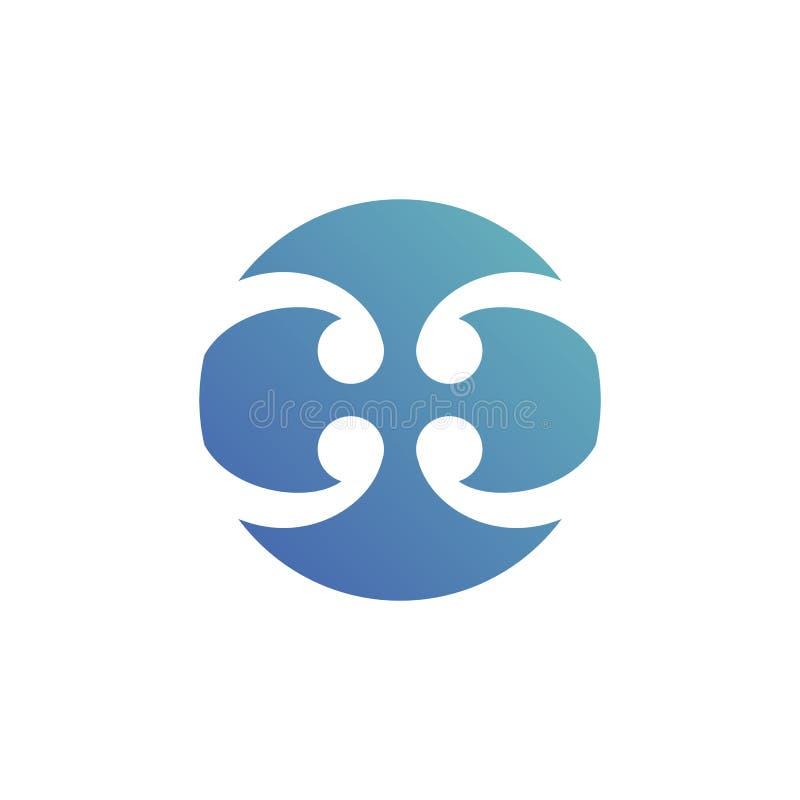 Signe abstrait de logo de lame de cercle conception matérielle, vecteur illustration libre de droits