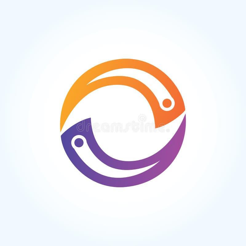 Signe abstrait de logo de tranche de cercle de lettre conception matérielle, vecteur illustration stock