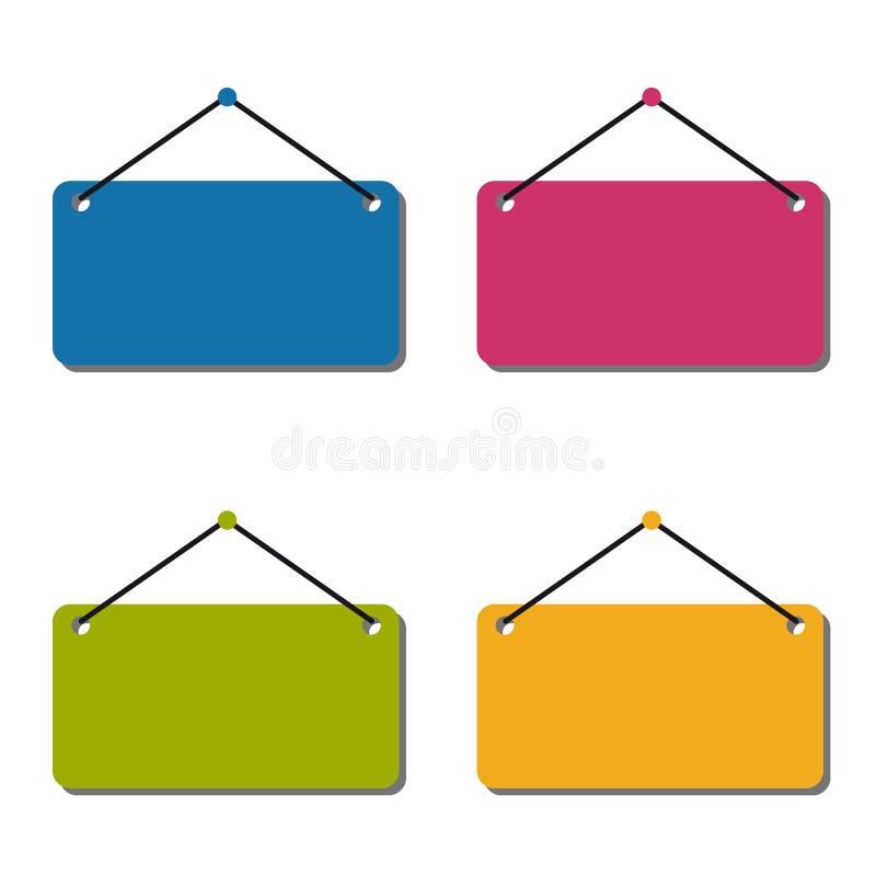 Signe accrochant vide réglé - illustration colorée de vecteur - d'isolement sur le fond blanc illustration stock