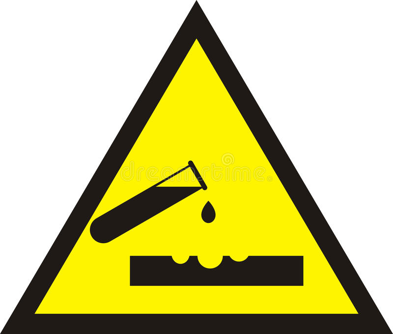 Signe acide d'avertissement Autocollant jaune de chimie de triangle Tube à essai illustration de vecteur
