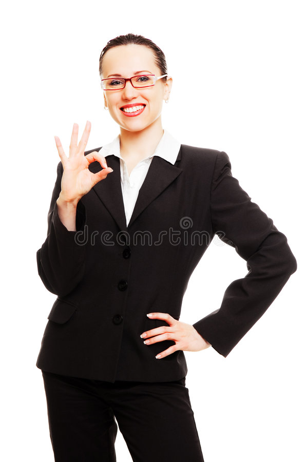 signe affichant en bon état de femme d'affaires attirante photos stock
