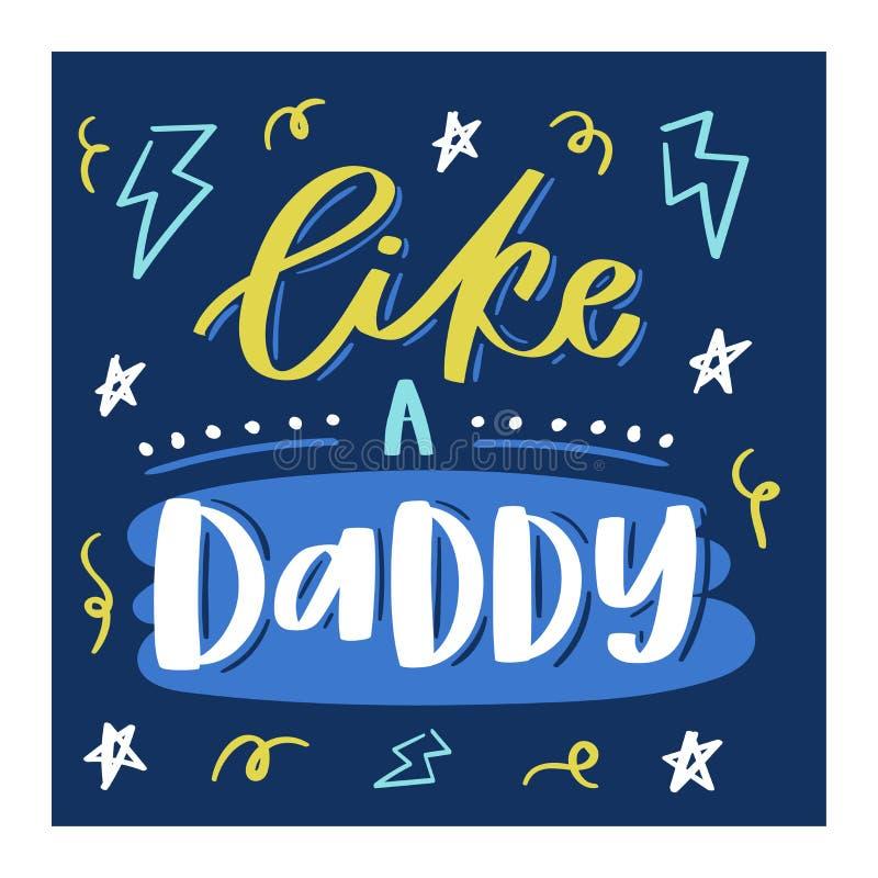 Signe aimable lettring de belle calligraphie de vecteur de jour de famille au papa de maman je t'aime le jour de mères ou de père illustration stock