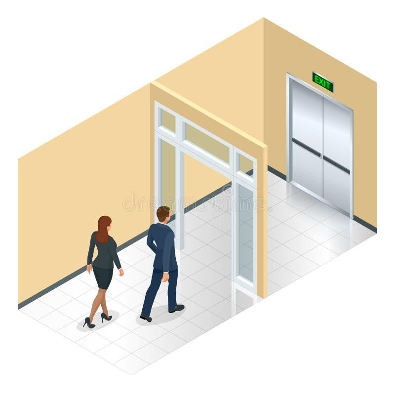 Signe allant de porte de sortie d'homme d'affaires, urgence Solution d'affaires ou concept de stratégie de sortie Laisser l'immeu illustration de vecteur